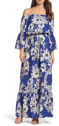 Eliza J Off the Shoulder Floral Maxi Dress