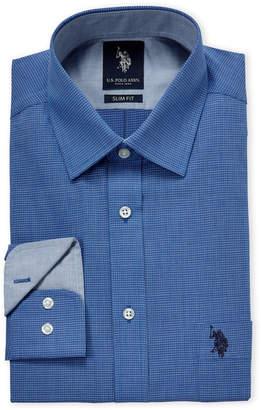 U.S. Polo Assn. Blue Box Check Slim Fit Dress Shirt