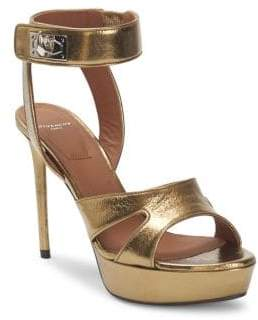 Givenchy Shark Stiletto Metallic Platform Sandals