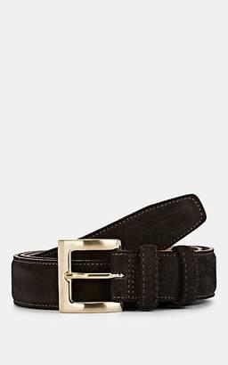 Barneys New York Men's Suede Belt - Dk. brown