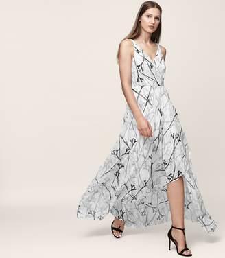 Reiss ELLE PRINTED MAXI DRESS Black/Offwhite
