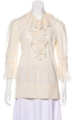 Temperley London Lace-Trimmed Long Sleeve Blouse