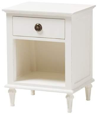 Baxton Studio Venezia French-Inspired Rustic Gray Wash Finish Wood 1-Drawer Nightstand