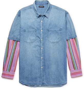 Balenciaga Oversized Panelled Striped Denim Shirt