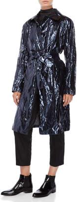 Jil Sander Metallic Blue Crinkled Coat