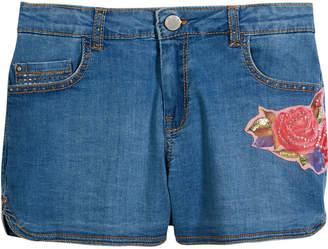 Mayoral Flower Embroidered Denim Shorts, Size 8-16