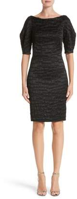 Talbot Runhof Mosaic Jacquard Sheath Dress
