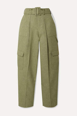 Rosie Assoulin Belted Glittered Canvas Wide-leg Pants - Sage green