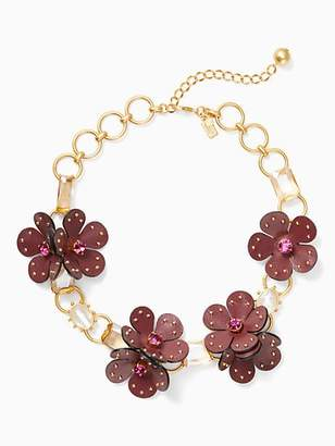 Kate Spade Blooming bling leather statement necklace