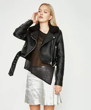 Alice In The Eve Leather Look Biker With Faux Fur Collar Black