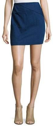 Halston Faux-Wrap Draped Mini Skirt