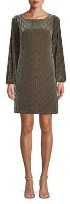 Vince Camuto Long-Sleeve Velvet Shift Dress