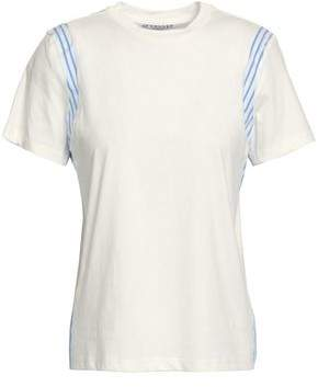 Derek Lam 10 Crosby Striped Woven-Paneled Cotton-Jersey T-Shirt