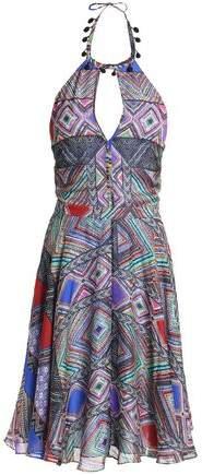 Pleated Printed Silk Halterneck Dress