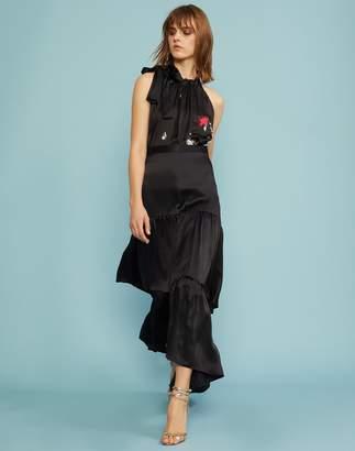 Cynthia Rowley Charmeuse Maxi Tiered Skirt