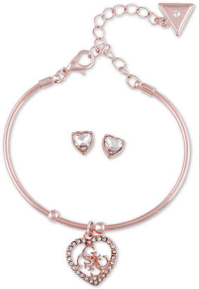 GUESS Crystal Quatro-g Heart Bangle Bracelet & Stud Earring Gift Set