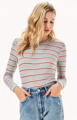Me To We Striped Clover Waffle Knit Long Sleeve T-Shirt