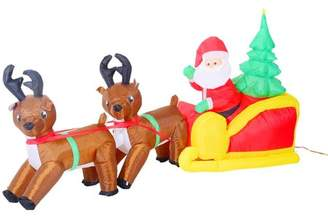 HomCom Inflatable LED Lit Christmas Santa and Reindeer Lawn Yard Decoration