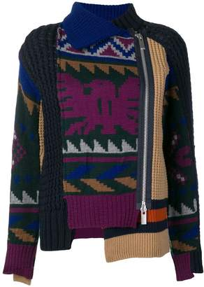 Sacai patchwork asymmetric sweater