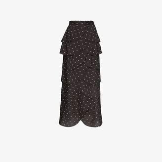 REJINA PYO polka dot scalloped maxi skirt