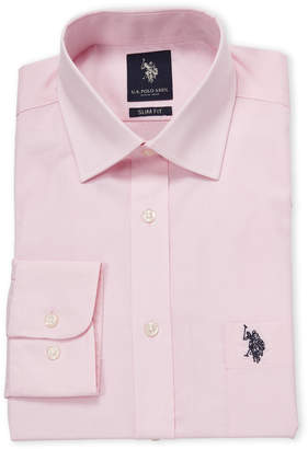 U.S. Polo Assn. Pink Silm Fit Solid Dress Shirt