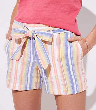 LOFT Striped Tie Waist Shorts