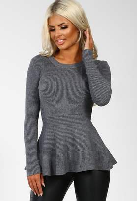 Pink Boutique Rochelle Grey Ribbed Peplum Jumper