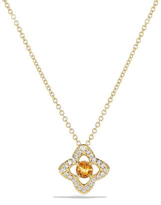David Yurman Venetian Quatrefoil Necklace with Citrine and Diamonds in 18K Gold
