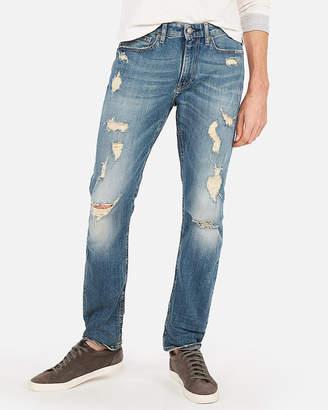 Express Slim Light Wash Destroyed Stretch Jeans