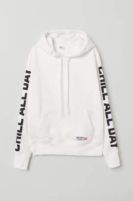 H&M Printed Hooded Sweatshirt - White
