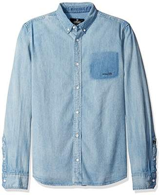 Buffalo David Bitton Men's Sigmum Long Sleeve Bleached Denim Fashion Shirt wash