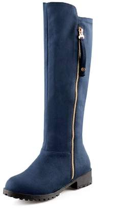 DoraTasia Women's Ladies Fashion Faux Suede Zipper Knee High Riding Wide Calf Boot