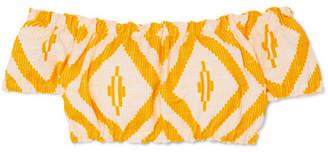 Lemlem Biruhi Off-the-shoulder Cropped Printed Cotton-blend Jacquard Top - Yellow