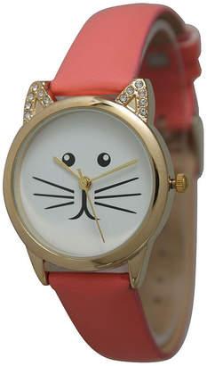 OLIVIA PRATT Olivia Pratt Womens Gold-Tone White With Black Cat Face Dial Coral Leather Strap Watch 13586L