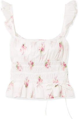 Brock Collection Thadine Shirred Floral-print Cotton-voile Top - White