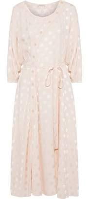 Nina Ricci Belted Polka-dot Silk-jacquard Midi Dress