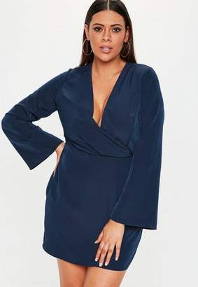 Missguided Plus Size Navy Drape Plunge Mini Dress