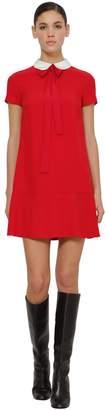 RED Valentino CREPE ENVERS SATIN MINI DRESS W/ BOW
