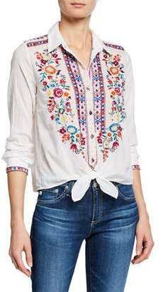 Johnny Was Allegra Embroidered Tie-Front Voile Cotton Shirt