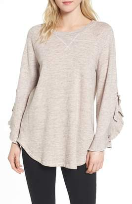 Ella Moss Ruffle Split Sleeve Cotton Sweatshirt