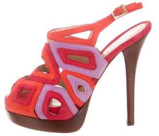 Fendi Laser Cut Suede Sandals
