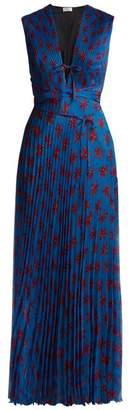 Raquel Diniz - Mika Floral Print Pleated Silk Dress - Womens - Blue Print