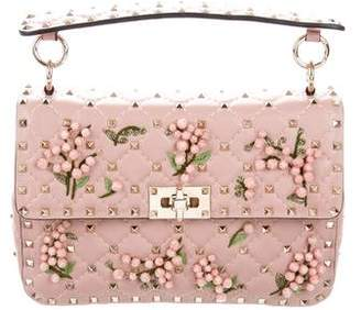 Valentino Medium Rockstud Spike Floral-Embellished Bag