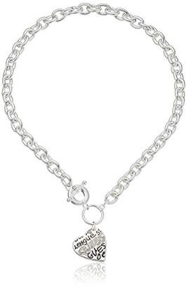 """GUESS Basic"""" and Crystal Graffiti Heart Toggle Pendant Necklace"""