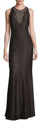 Carmen Marc Valvo Sleeveless Embellished Jacquard Gown, Pewter $990 thestylecure.com
