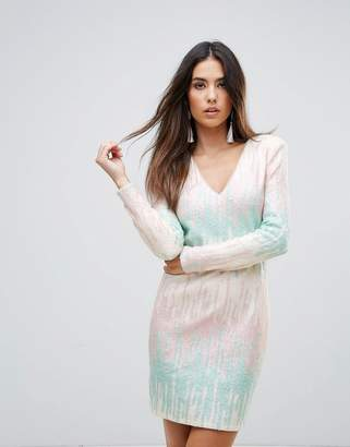 Forever Unique Ombre Panel Mini Bodycon Dress