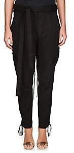 Saint Laurent Women's Cotton-Linen Twill Lace-Up Pants - Black