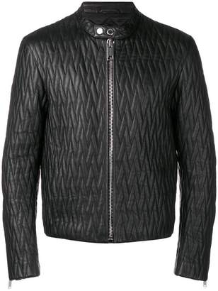 Les Hommes quilted leather jacket