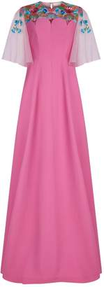 DELPOZO Floral Embroidered Neck Gown