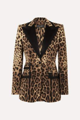 Dolce & Gabbana Satin-trimmed Leopard-print Wool-blend Blazer - Leopard print